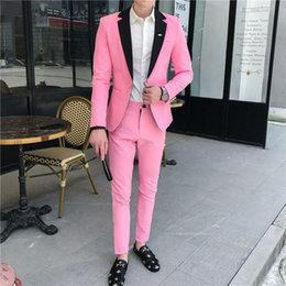 Wholesale mens blue suits for sale - Group buy Summer Pink Mens Light Blue wedding dress Suits for young Social Club Outfits Smoking Blazers Set Black White