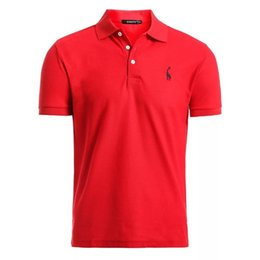 mens deer shirt Canada - 6kNew Man Red Solid Color Mens Casual Deer Embroidery Cotton Shirt Men Short Sleeve High Quantity Polo