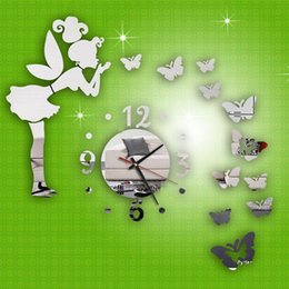 Discount butterfly mirror wall art Modern Style Butterfly Fairy Clock DIY 3D Art Mirror Wall Sticker Kids Room Bedroom Home Decor For Decoration Stickers Clocks