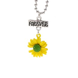 Discount necklaces best friend forever Sunflower Small Daisy Pendant Necklace Best Friends Forever Letter Charm Necklace Summer Beach Fashion Jewelry Accessory