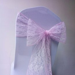 Wholesale Lace Wedding Chair Bows Birthday Party Events Chair Sashes Custom Made White Ivory Chair Covers 15*250 cm
