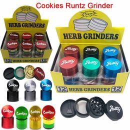 Runtz Grinder Cookies Sharpstone Herb Grinder Drop 40mm Colorful 4 Parts Layers Zinc Alloy Tobacco Smasher Crusher Hand Muler