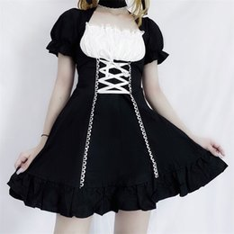 Wholesale cosplay lolita dress long sleeve for sale - Group buy QWEEK Women s Maid Dress Kawaii Lolita Outfit French Maid Costumes Cosplay Bandage Dress Sexy Waitress Dress Puff Sleeve Uniform