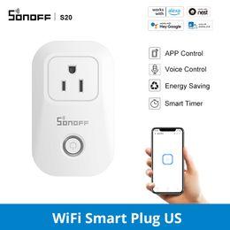 SONOFF S20 ABD / İNGILTERE / DE / CN WIFI Güç Soketi Kablosuz Uygulama Işık Fiş Çıkışı Zamanlayıcı Anahtarı Sela Uzaktan Kumanda Alexa ile Akıllı Ev İşleri için Uzaktan Kumanda