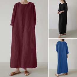 long kaftan dresses robe Canada - dresses Plus Size Kaftan Solid Dress Women's Spring Sundress 2021 Casual Long Sleeve Maxi Vestidos Female Hollow O Neck Robe 5XL