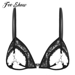open cup lace 2021 - Black Women See Through Sheer Lace Bras Bralette Sissy Exotic Lingerie Underwear Breathable Open Cups Bra Tops With Metal Rings