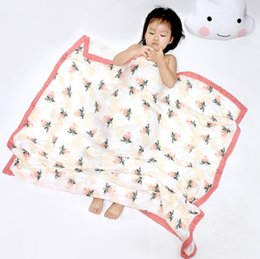 Infant Bath Towels Printed Muslin Four-Layer Bamboo Cotton Gauze Towel Wrapped By INS Baby Blanket 27 Designs YL493 on Sale