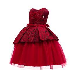 Ingrosso Abito da battesimo Costume di carnevale di Natale per bambini Ricamo partito Principessa Bambino ragazze Abbigliamento 7 8 9 10 anni