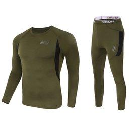 2021 Men Tactical Underwear Outdoor Sportswear Elastic Quick Drying Casual Sport Running Set Long Sleeve Top Pants Suit