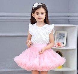 Опт Девушки рюшащие туту юбки детские ленты луки пятен тюль юбка детские кружевные принцесса партии днищ A6169