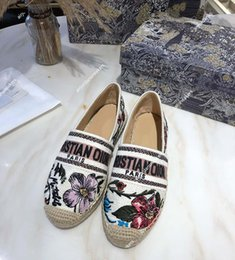 Women Hemp Slip 2021 Rosa Mutabilis embroidered fisherman shoes Granville Straw casual Loafers Flats Espadrilles size 35-40 on Sale