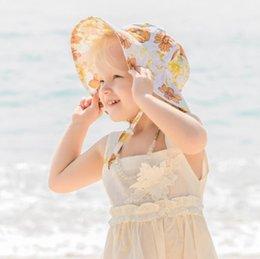 Baby Girls Pescador Sombreros Primavera Verano Infantil Niños Versátiles Caps Lindas Flores Impresión Fashion Hat IIA961 en venta
