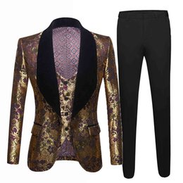 Wholesale italian design men suit for sale - Group buy Mens Wedding Italian Design Custom Made Tuxedo Jacket Piece Groom Terno Suits For Men Men s gold jacquard suit