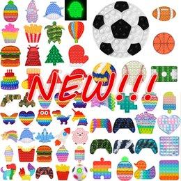 NY!!! Regnbåge fidget bubbla leksaker stress relief squeeze för barn squishy sensory anti stress spel hand enkel dimple fidget slappna av leksak dhl grossist