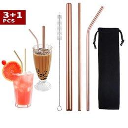 Индивидуальные сумки упаковки 4 + 1 многоразовые из нержавеющей стали питьевые соломинки набор металла соломинки с чистящим щетками бар аксессуары WLL613 на Распродаже