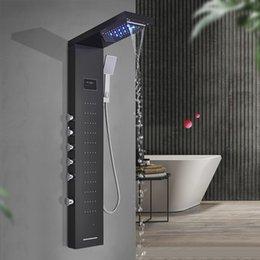 Опт Светодиодная панель для душа колонна черного щеткой никелевой ванны для ванной комнаты ванной комнаты ванной комнаты с экраном температуры