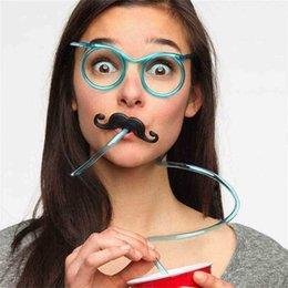 Детские моды забавные очки соломенный пипетка творческие странные бокалы борода соломенные игры предпринимательские партии дети красочные игры на день рождения G89sftq на Распродаже
