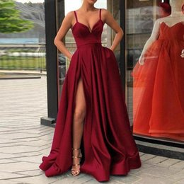 Discount long lycra gowns Backless Satin Split Evening Dresses Long Party Gown Spaghetti Straps Vestido De Festa Sweetheart Burgundy Prom