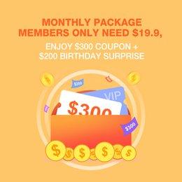 Venta al por mayor de Los miembros mensuales del paquete solo necesitan $ 19.9, disfrute de $ 300 cupón + $ 200 sorpresa de cumpleaños