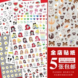 Wholesale princesses nails for sale - Group buy Manicure sticker bear cow nail Decal Daisy rich cartoon fruit poached egg star princess dailu graffiti