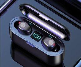F9 F9-B Wireless Earphone Bluetooth V5.0 Headphone HiFi Stereo Earbuds LED Display Touch Control 2000mAh Power Bank Headset With Mic on Sale