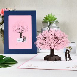 Discount 3d flowers wedding invitations 3D Pop-Up Cards Flowers Birthday Card Anniversary Gifts Postcard Maple Cherry Tree Wedding Invitations Greeting