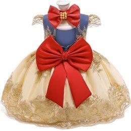 venda por atacado Primeiro vestido de aniversário para 1 2 anos de idade laço de laço princesa traje de natal nascido 1º vestido de batismo