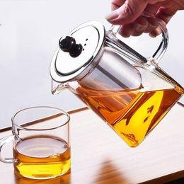 Venta al por mayor de 350-750ml de vidrio transparente resistente al calor Jug W Infuser Café Té Hoja Herbal Pot Flowot Tetera Leche Juice Contenedor 609 V2