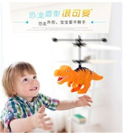 Wholesale Dinosaur Model Helicopter Sensor Flying Remote Control Aircraft Kids Children Light Toys Christmas gifts