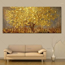 painted christmas canvas UK - Handmade Modern Abstract Landscape Oil Paintings On Canvas Wall Art Golden Tree Pictures For Living Room Christmas Home Decor11 NJEU