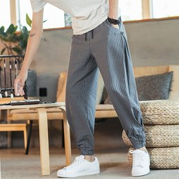 Wholesale plated pants resale online - Spring Summer Monsoon Casual Trendy Plate Buckle Hemmed Down Harlan Pants Loose Men s Thin Striped Capris