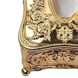 Gold Acrylic Tissue Box Hotel Restaurant Napkin Holder Household Tissue Box 385 R2 on Sale