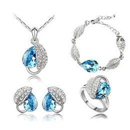 Cheap Bohemian Bracelet Sets NZ - High Grade Full Diamond Crystal Necklace Earrings Bracelets Rings Sets Austria Crystal Pendant Cheap Jewelry Sets For Women 4172