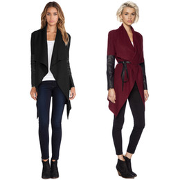 Wholesale leather sleeve cardigan for sale – winter High Quality Long Winter Jacket Women Waterfall Front Cape Coat PU Leather Long Sleeve Cardigan With Belt Winter Poncho