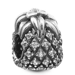 704181fba Pandora Pineapple Charm Canada - Pineapple with Clear CZ 100% 925 Sterling  Silver Beads Fit