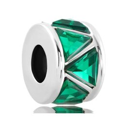 pandora spacers UK - Fashion women jewelry European spacers May birthstone green triangle crystal metal bead loose charms fits Pandora charm bracelet
