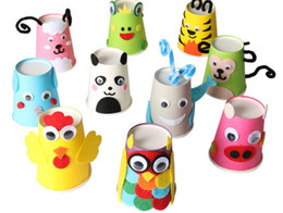 Diy Paper Making Canada - DIY gifts Kindergarten Handmade DIY for children Making color paper cups Disposable paper cup Holiday Party Wedding cup 250ml 100pcs lot