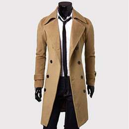 Barato Homens S Casacos De Inverno Designer-Atacado- Mens Trench Coat 2017 New Fashion Designer Men Long Coat Outono Inverno Double-breasted Windproof Slim Trench Coat Homens JH815086