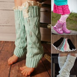 Wholesale 2017 toddler kids infant baby hollow out lace Warm feet buttons Cotton short legs boot cuffs kids leggings hotest