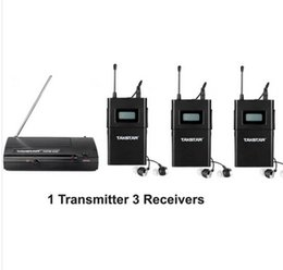 takstar uhf NZ - 2014 UHF Wireless In Ear Stage Monitor System TAKSTAR In Ear Stage Wireless Monitor System 3 Receiver + 1 Transmitter WPM-200 free shipping