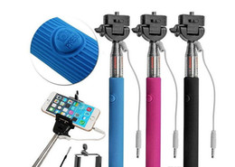 Wholesale Wired Selfie Stick Handheld Monopod Built-in Shutter Extendable + Mount Holder For iPhone Samsung Smartphone Any Phones Camera