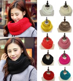warming scarf Canada - Winter Women Infinity Scarf Casual Warm Knitting Soft Ring Scarves Round Neck Snood Scarf Shawl for Lady