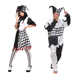 movie star party supplies NZ - Adults Women Men Black White Grid Clown Costume Stge Performance Cosplay Jumpsuits Halloween Masquerade Party Supplies