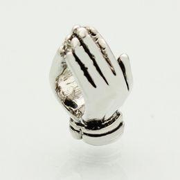 European Chamilia Biagi Charm Bracelets Canada - Metal Slider Sapcer Rhodium plating handclap WELCOME symbol European Beads Fit Pandora Chamilia Biagi Charm Bracelet