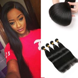 Hair Straightening Products Wholesale NZ - virgin Brazilian hair Bundles straight Weave Human hair 8A Grade Virgin Brazilian Hair Straight Natural Color Rainbow Queen Products