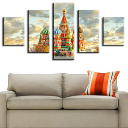 $enCountryForm.capitalKeyWord NZ - 5 Piece moscow-kremlin large wall paintings Modern Home Wall Decor Canvas Picture Art HD Print Wall Painting vintage home decor