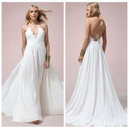 lace halter beach boho wedding dresses plus size bohemian sexy backless a line 2016 simple chiffon elegant criss cross greek bridal gowns