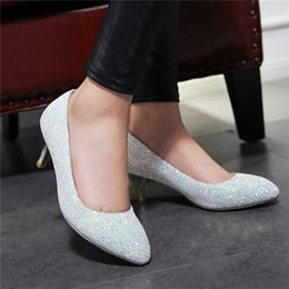 Pink Glitter Sequin Shoes Women Canada - New autumn sequins pointed toe shallow mouth high heels women fashion thin single shoe wedding bridesmaid 2017 sexy nightclub shoes black