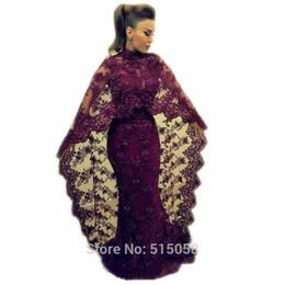 Chinese  Abaya In Dubai 2015 Purple Lace Evening Dresses Mermaid Muslim Arabic Celebrity Party Gowns New yousef aljasmi Kaftan Dress manufacturers