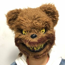 Discount teddy bear fancy dress costume - Free shipping Halloween Party Scary Killer Teddy Bear Mask Adult Evil Psycho Halloween Costume Fancy Dress Plastic Mask